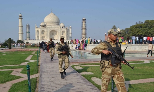 Security personnel deployed at Taj Mahal after five convent schools in Agra received bomb threat on Feb 9, 201...