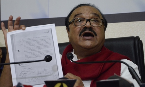 NCP leader Chhagan Bhujbal addresses a press conference in Mumbai on Feb 9, 2016.
