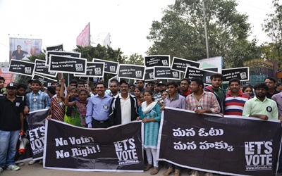 People participate in a voters' awareness rally in Hyderabad on Jan 24, 2016.